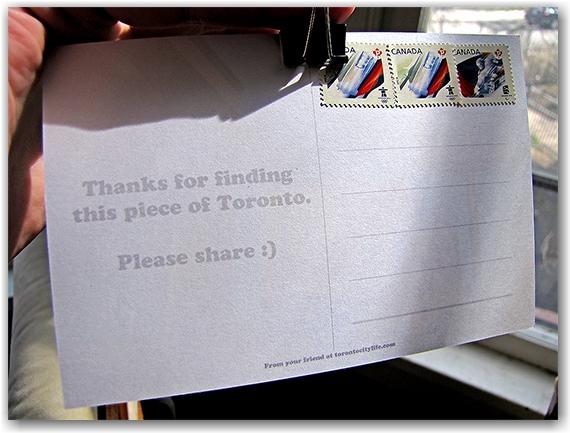 postcard, photo, postage, message, paper clip, toronto, city, life