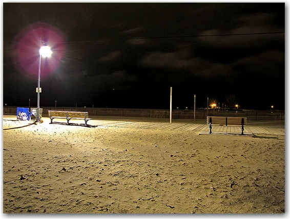 woodbine beach, park benches, boardwalk, tethers, lake ontario, light pole, night, toronto, city, life