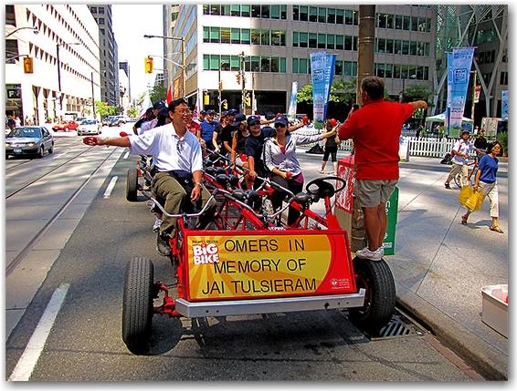 omers big bicycle, wellington street, toronto, city, life