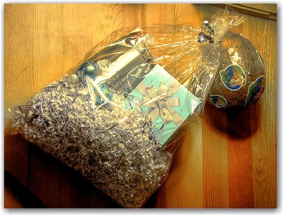 gift bag, coconut, chocolates, travel mug, toronto, city, life