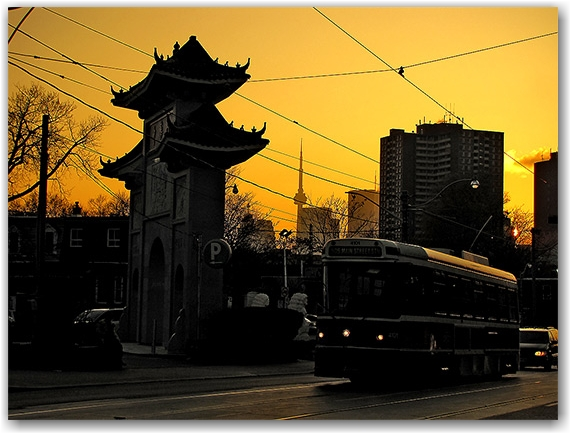 chinatown, gerrard street, gates, temple, skyline, cn tower, toronto, city, life