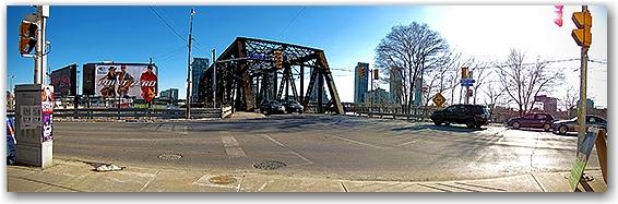 bathurst street bridge, go train tracks, panorama, toronto, city, life, blog