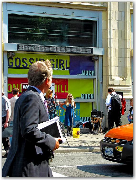 sass jordan, busking, john street, much music building, warchild.org, toronto, city, life