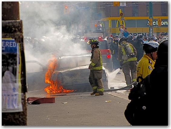 g20, riots, fire, police car, cruiser, queen street west, toronto, city, life