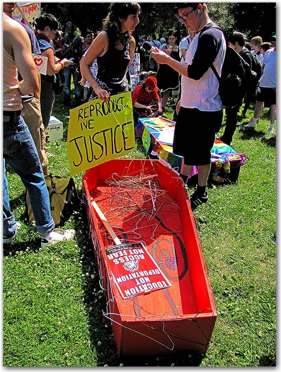 coffin, coat hangers, abortion rights, protesters, protests, g20, allan gardens, toronto, city, life