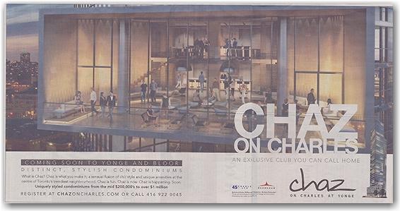 chaz condominiums, charles street, newspaper advertisement, the star, toronto, city, life