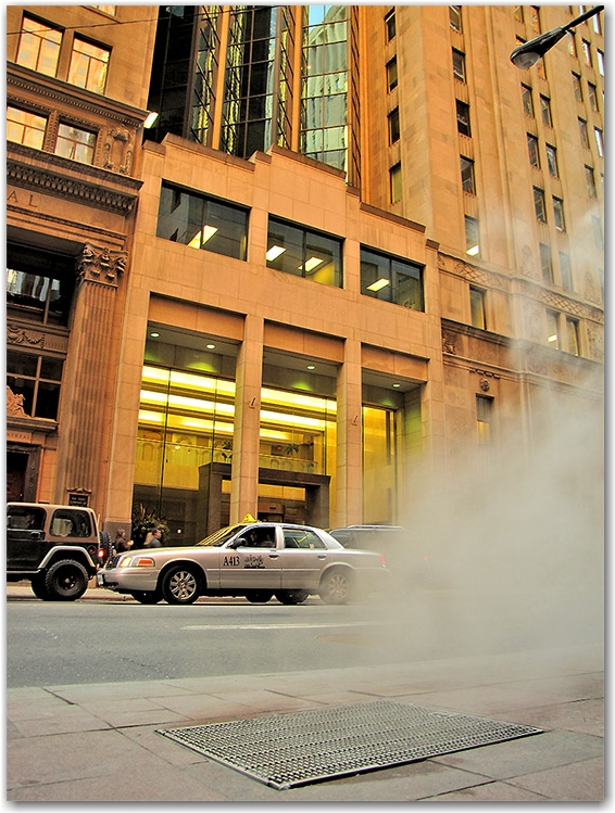 bay street, bank, sewer, steam, taxi, toronto, city, life