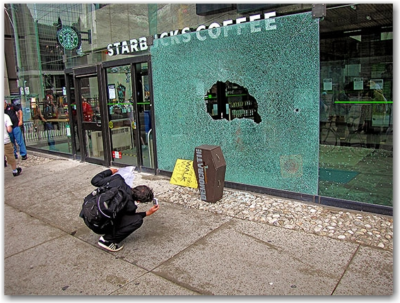 g20, protests, riots, broken glass, starbucks, casket, queen street west, toronto, city, life