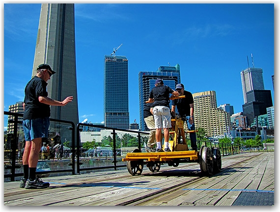 turntable, handcar, john street roundhouse, museum, tourists, toronto, city, life