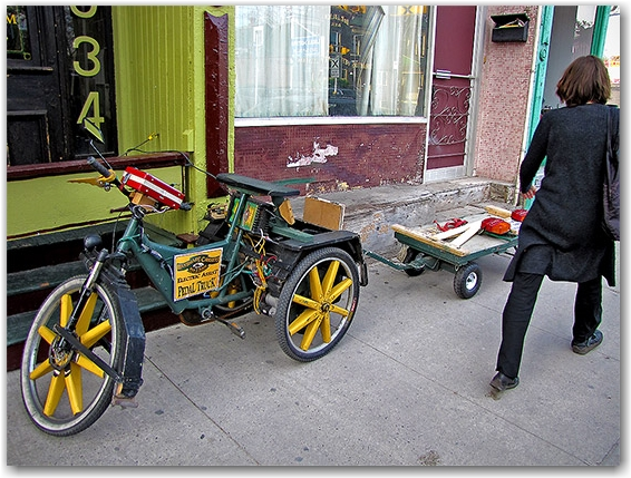 pedal truck, electric tricycle, queen street east, toronto, city, life