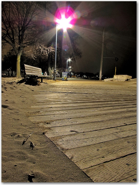 woodbine beach, park bench, boardwalk, light pole, sand, winter, night, toronto, city, life