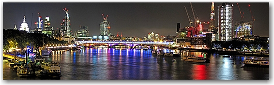 The mysterious London financial district. East from Waterloo Bridge.