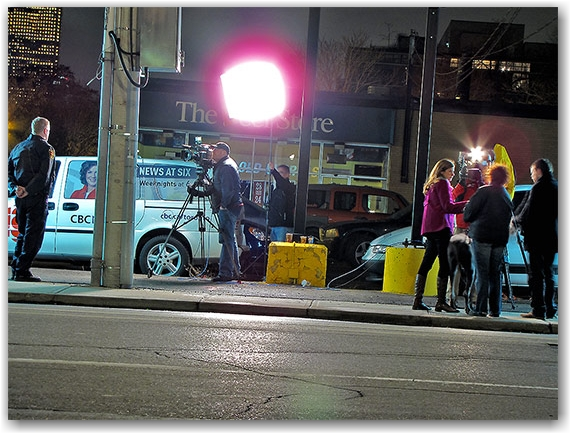 reporters, news, tv, television, cameras, interview, police, scandal, humane society, toronto, city, life
