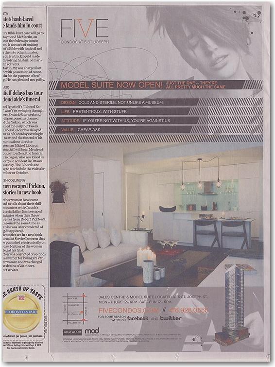 five condominiums, altered advertisement, toronto star, toronto, city, llife
