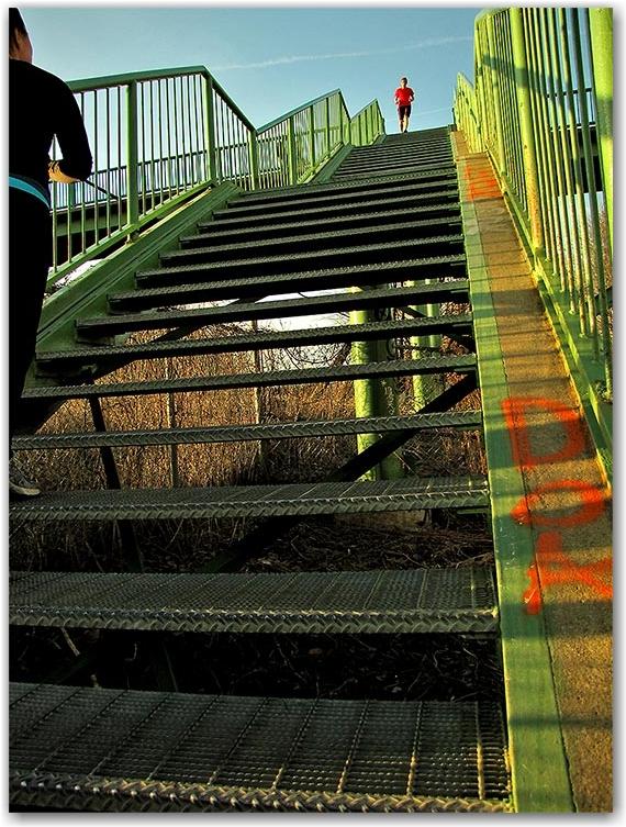 west don lands, parkway, stairs, bridge, toronto, city, life