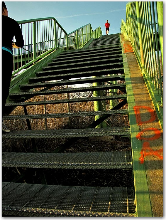 west don lands, parkway, stairs, bridge, toronto, city, life