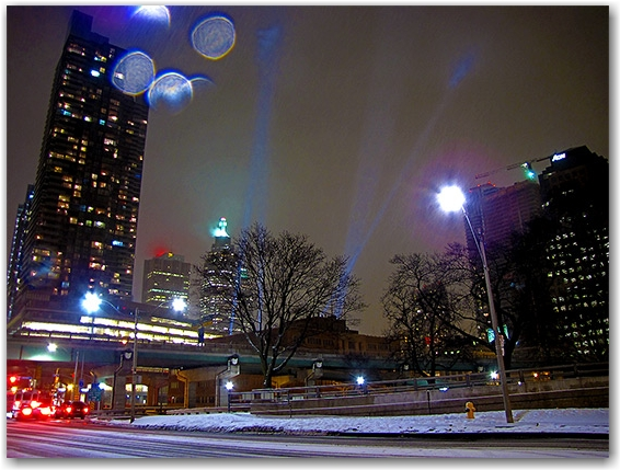 lights, snow, winter, lakershore, gardiner expressway, toronto, city, life