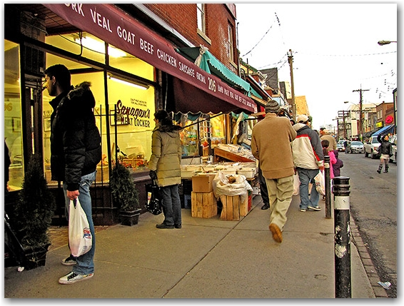 meat, butcher shop, kensington market, shoppers, pedestrians, toronto, city, life