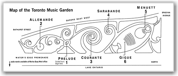 music garden, map, trails, paths, urban park, toronto, city, life