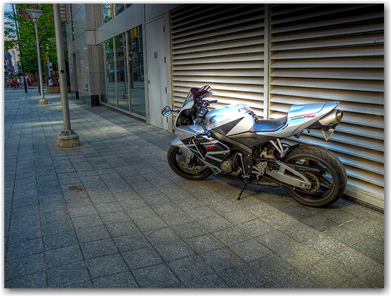 motorcycle, vistoria street, sidewalk, hdr, toronto, city, life, blog