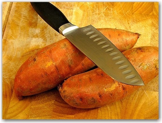 yams, sweet potatoes, knife, cutting board, toronto, city, life