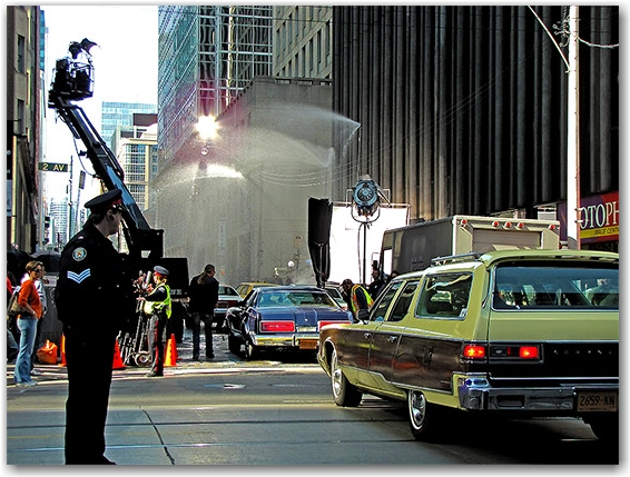 the thing, movie, film, production, set, king, victoria, streets, new york, manhattan, 2011, toronto, city, life