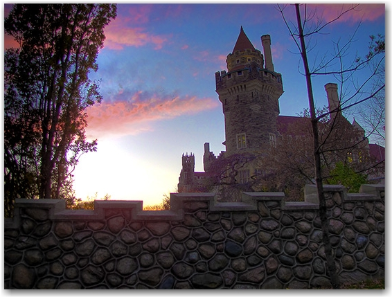 casa loma, dusk, sunset, castle, toronto, city, life