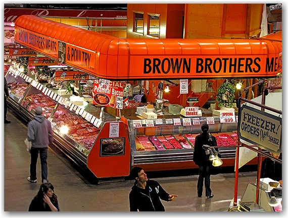 brown brothers, meat market, st. lawrence market, toronto, city, life