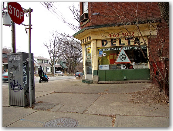 delta motors repair shop, gerrard street east, mailbox, graffiti, toronto, city, life