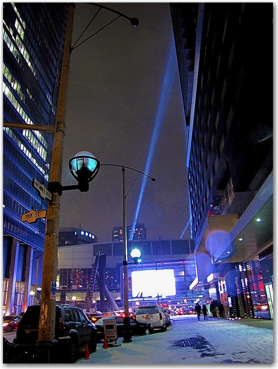 air canada centre, acc, spotlights, winter, snow, toronto, city, life