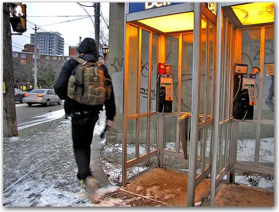 bell telephone public booths, street corner, sidewalk, pedestrian, bus, regent park, toronto, city, life