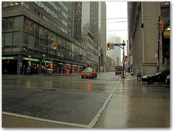 taxi, street corner, yonge street, king street east, tracks, road, toronto, city, life