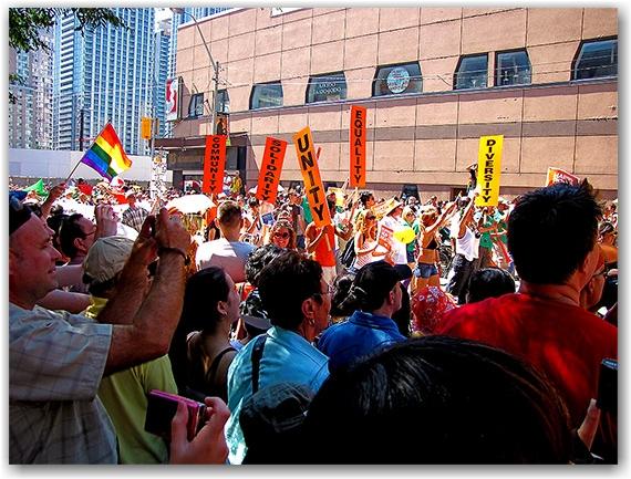 pride parade 2010, yonge street, gerrard street east, toronto, city, life