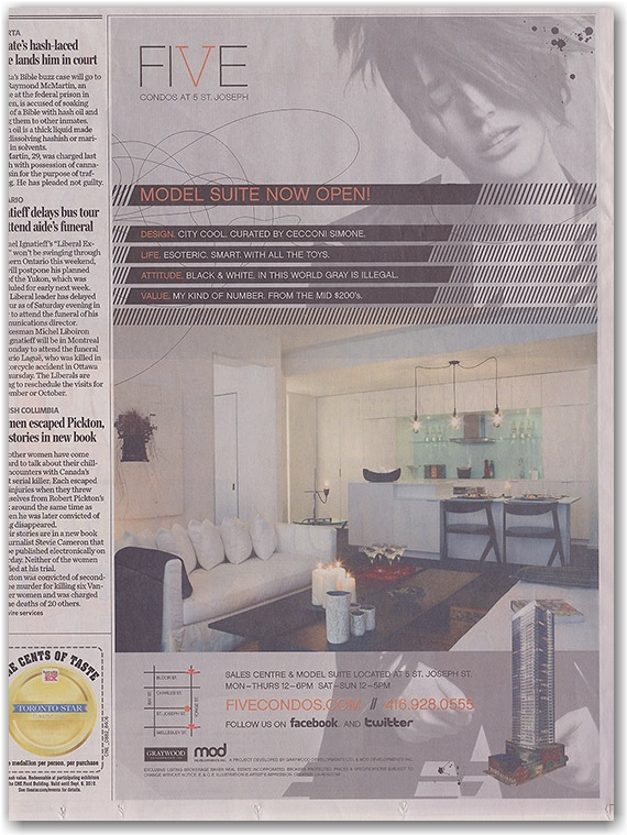 five condominums, newspaper advertisement, toronto star, toronto, city, life