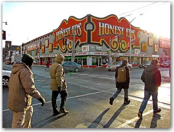 honest ed's store, bloor street west, bathurst street, mirvish village, retail, street corner, intersection, toronto, city, life