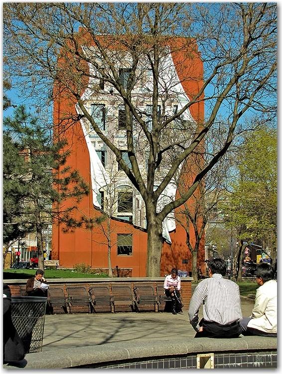 berczy park, wellington, front, streets, flatiron, building, facade, fountain, toronto, city, life