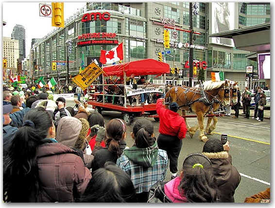 st. patrick's day parade, yonge street, dundas street, toronto, city, life