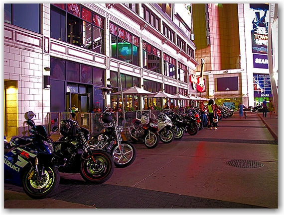 motorcycles, bikes, hard rock cafe, toronto, city, life