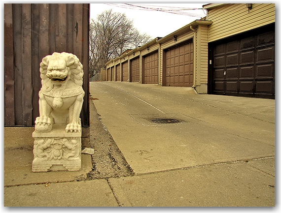 gerrard street east, garages, alley, statue, toronto, city, life