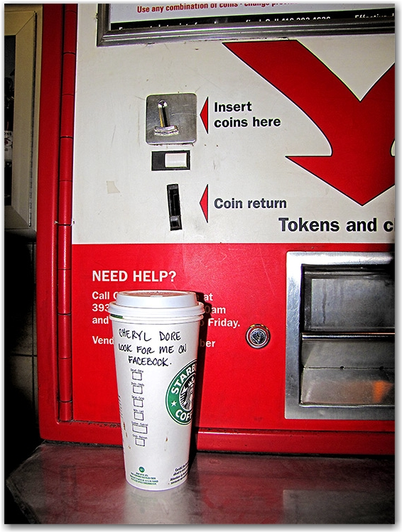 cheryl dore, coffee cup, starbucks, ttc, token dispenser, subway, public transit, toronto, city, life, blog