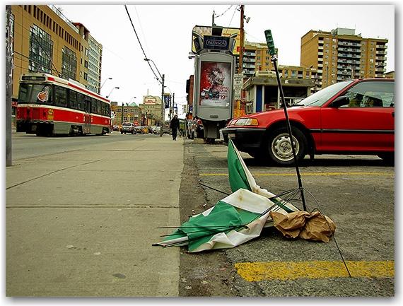 streetcar, destroyed umbrella, parking lot, toronto, city, life