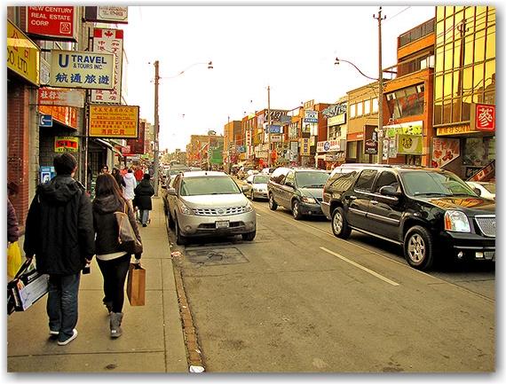 chinatownm sidewalk, signs, signage, dundas street west, toronto, city, life