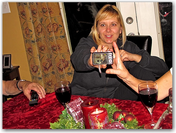 dinner table, christmas, sister, photo, camera, toronto, city, life