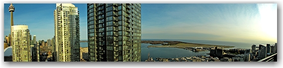 panorama, cn tower, highrises, towers, skyline, toronto island airport, canada malting plant, toronto islands, toronto, city, life