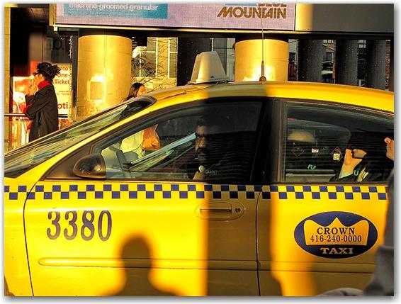 taxi driver, yellow cab, yonge-dundas square, toronto, city, life
