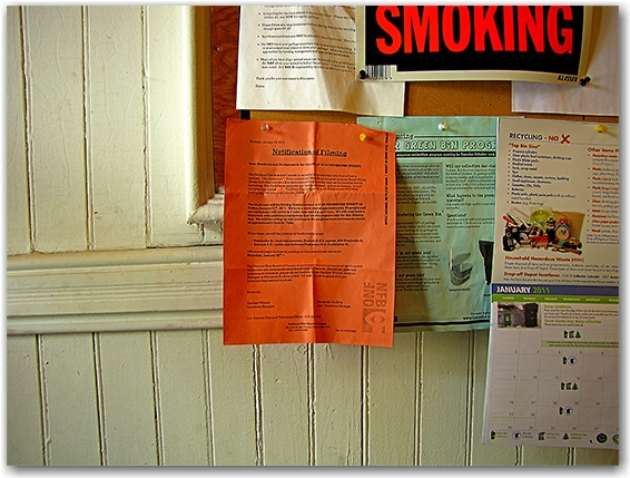 filming notice, apartment building, toronto, city, life
