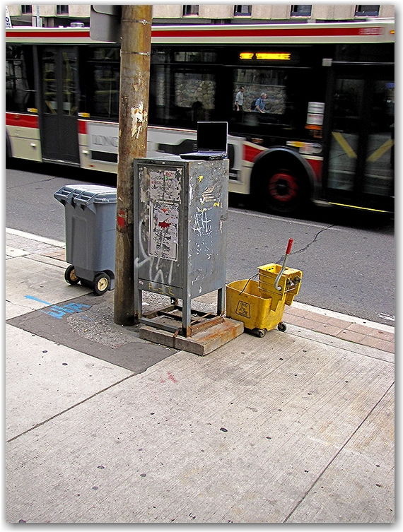 laptop, bucket, sidewalk, bus, ttc, yonge street, toronto, city, life