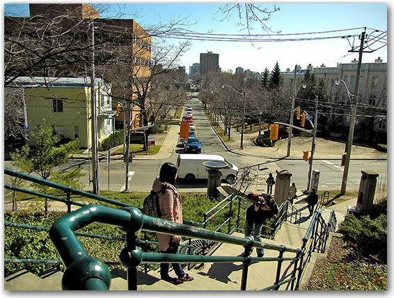 casa loma, steps, skyline, toronto, city, life