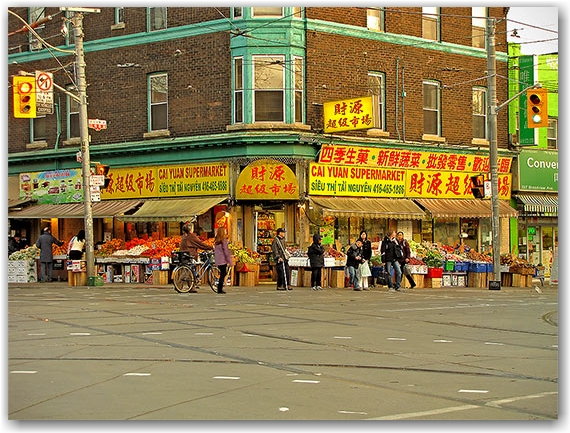 chinatown, gerrard street, market, fruits, vegetables, crosswalk, pedestrians, toronto, city, life