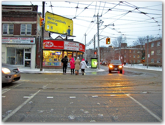 parliament street, gerrard street east, intersection, convenience store, pedestrian crossing, regent park, cabbagetown, toronto, city, life